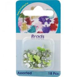 Брадс детелинки - 18бр. - (5809)-Brads, flower, assorted colour, 18 pcs