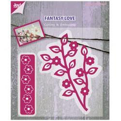 Щанца за изрязване и релеф клонки с цветя - Embossing stencil Tak met bloemen + bloemen