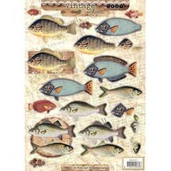 Лист A4 за 3D декупаж с риби - Easy 3D Stansvel Vintage nr.411