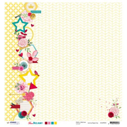 Двустранна дизайнерска хартия - 30,5 x 30,5cm / 200 gr.- Studio Light - Scrap dubbelzijdig Flower Delight nr.01