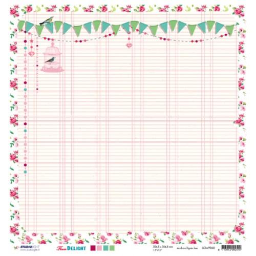 Двустранна дизайнерска хартия - 30,5 x 30,5cm / 200 gr.- Studio Light - Scrap dubbelzijdig Flower Delight nr.02