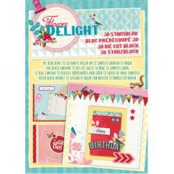 Книжка с размер А4 за направата на 12бр. картички с цветя - Stansblok Flower Delight nr.10