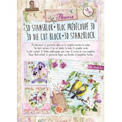 Книжка с изрязани 3D топери, 12 листа  - Stansblok Die Cut Beautiful Flowers nr.21