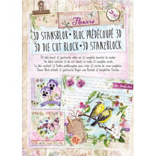 Книжка с изрязани 3D топери, 12 листа  - Stansblok Die Cut Beautiful Flowers nr.21