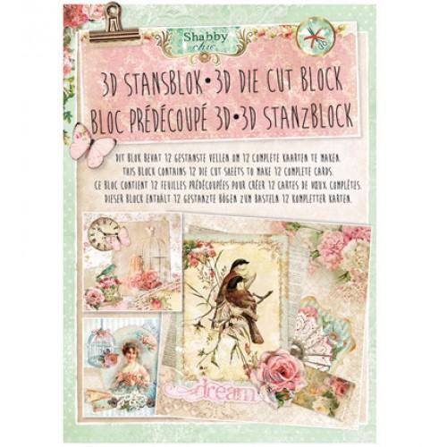 Книжка с изрязани 3D топери, 12 листа - Stansblok Die Cut Shabby Chic nr.22