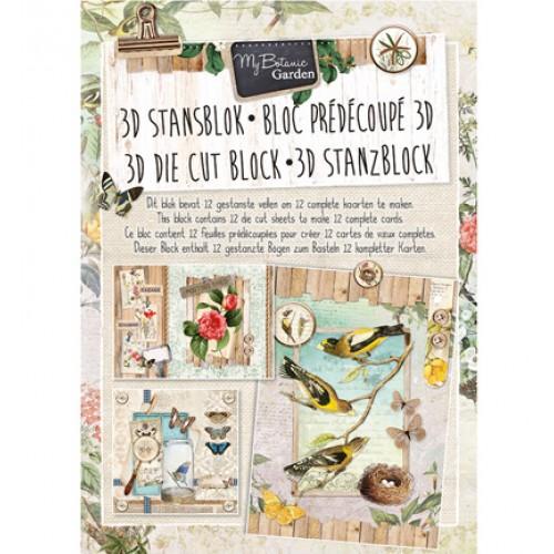 Книжка с изрязани 3D топери, 12 листа - Stansblok Die Cut My Botanic Garden nr.23