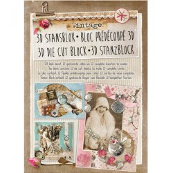 Книжка с изрязани 3D топери, 12 листа - Stansblok Die Cut Vintage nr.24