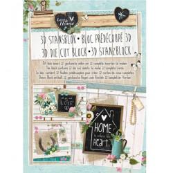 Книжка с изрязани 3D топери, 12 листа - Stansblok Die Cut Love & Home nr.25