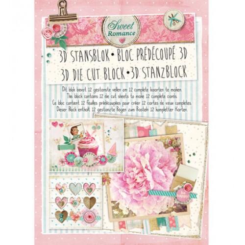 Книжка с изрязани 3D топери, 12 листа - Stansblok Die Cut Sweet Romance nr.26
