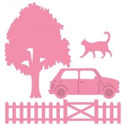 Комплект от 4бр. щанци за изрязване - дърво, ограда, котка и кола - Marianne design - Marianne Design Collectable Village decoration set