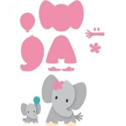 Комплект от тънки метални щанци за изрязване на слонче - Marianne design - Marianne Design Collectable Eline's Elephant