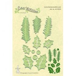 Тънки метални щанци с елхови клонки - Lea'bilitie Holly leave, pine branches snij en embossing mal