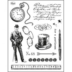 "Комплект силиконови печати ""джентълмен"" - Viva decor - Silicone Stamp Gentleman"