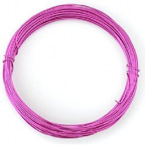 Бижутерска тел - наситено розово - Deep Pink Coloured Wire - 1 мм - 6 метра