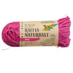Натурална розова рафия - Raffia Naturbast Ultramarin - Dark Pink 50g