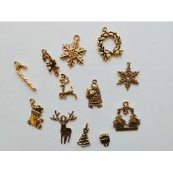 12бр. Новогодишни метални елемента - злато - коледни метални висулки