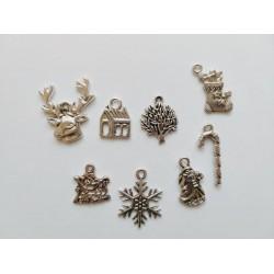 8бр. Новогодишни метални елемента - сребро - коледни висулки
