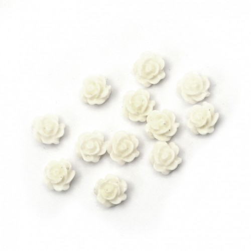 20бр. бели розички от поли резин с размери 6x3мм