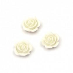 20бр. бели цветенца от поли резин с размери - 10x5.5 мм