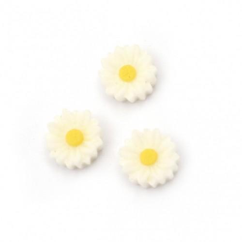 20бр. маргаритки от полимер с размери - 8x3 мм цвят бял