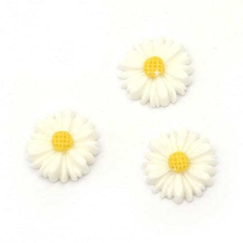10бр. бели маргарити от полирезин с размери - 13x4мм