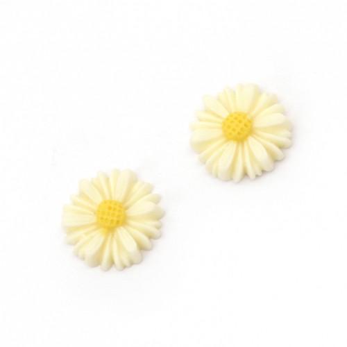 10бр. маргаритки от полирезин с размери 13x4 мм - цвят крем