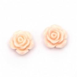 10бр. розови рози от полирезин с размери - 13x7мм