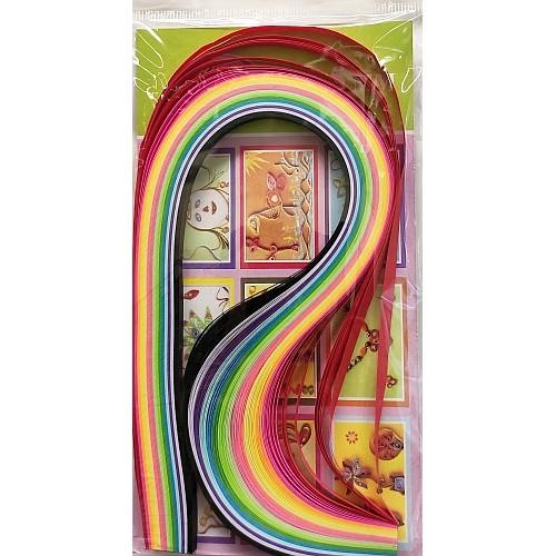 Лентички за квилинг - наситени цветове - 7 мм - 15 цвята - 100 броя