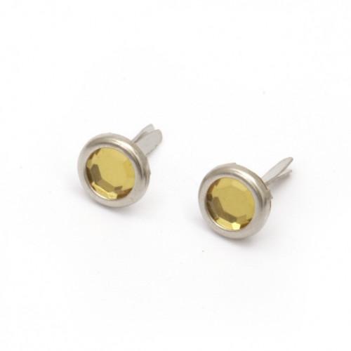 Сребърни брадс със златен камък (имитация) -  размери 8 х 14мм - 10бр.