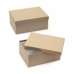 Правоъгълна крафт кутия с капак за декориране - 30 х 23 х 14