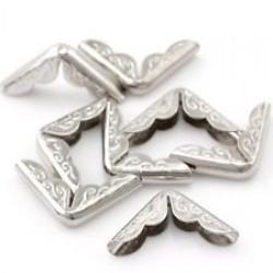 12бр. сребърни метални ъгълчета за скрапбук - 22х16мм