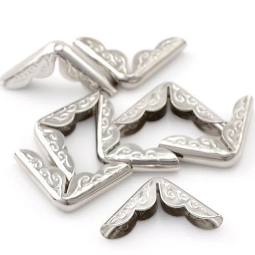 12бр. сребърни метални ъгли за скрапбук - размери 30x21мм