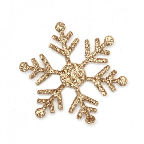 10бр. златни, брокатени снежинки от текстил - 30мм