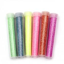 Комплект от 6 бр. едър брокат за декориране, неонови цветове ~2.3 грама всяко бурканче