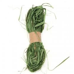 Натурална рафия, оцветена в зелено - лико - 30 грама