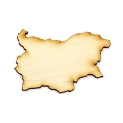Елемент за декорация - дървена карта на България - 70x50x3 мм