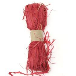 Натурална рафия, оцветена в червено - лико - 30 грама