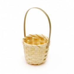 Декоративна плетена кошница - 40x53x115 мм - бяла