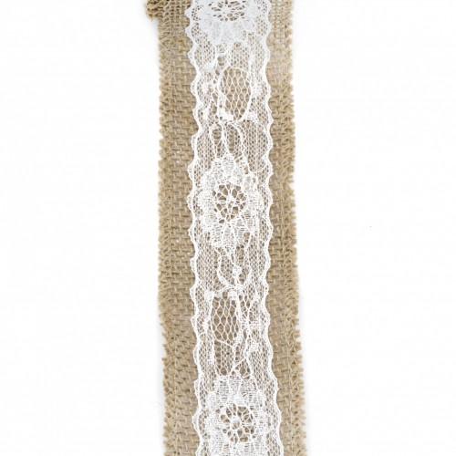 Лента от зебло с бяла дантела - 5x200 см
