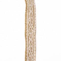 Тънка лента зебло с бяла дантела - 2.5x200 см