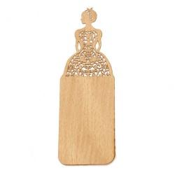 Дървен книгоразделител - 15x5 см - винтидж момиче