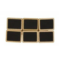 6бр. дървени етикети със щипки за закрепване и място за надписване - 4х3см - Set of Chalkboard Embellishments