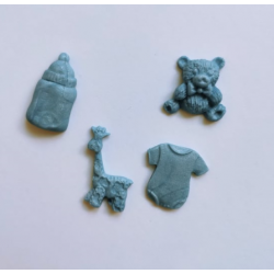 Бебешки елементи от полимерна глина в синьо - 4бр.