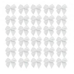 Мини сатенени панделки - бели - 2 х 2см - 50бр.