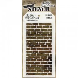 Шаблон за декупаж / стенсил тухли  - Tim Holtz - Tim Holtz Stencils Bricked