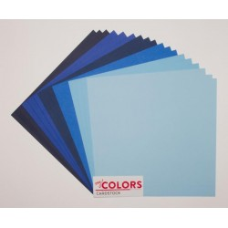 """Комплект от 18бр. картони 12"""" х 12"""" - 12x12 inch Blue Tones Cardstock Bundle 18pcs - 216гр."""