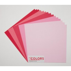 """Комплект от 18бр. картони 12"""" х 12"""" - 12x12 inch Pink - Red Tones Cardstock Bundle 18pcs - 216гр."""