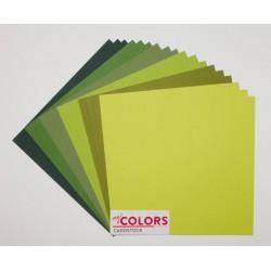 """Комплект от 18бр. картони 12"""" х 12"""" - 12x12 inch Green Tones Cardstock Bundle 18pcs - 216гр."""