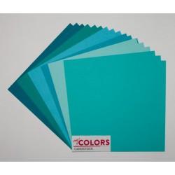 """Комплект от 18бр. картони 12"""" х 12"""" - 12x12 inch Aqua Tones Cardstock Bundle 18pcs - 216гр."""