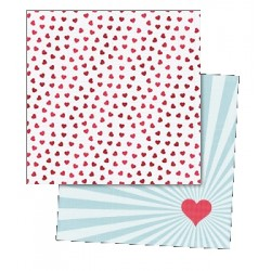 "Двустранен дизайнерски лист 12"" х 12"" - My Mind's Eye - Cupids Arrow - Confetti Hearts Foiled Paper"